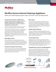 McAfee Secure Internet Gateway 3200 Appliance RG3200SIGAA Data Sheet