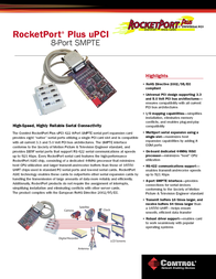 Comtrol RocketPort Plus uPCI 8-Port SMPTE RoHS 99403-9 Leaflet
