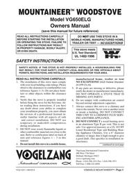 Vogelzang International Mountaineer Woodstove VG650ELG ユーザーズマニュアル