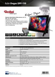 """Rollei Since 1920 Digital Photo Frame 15 """" JPEG, MP3, WMA, MPEG-1, MPEG-2, MPEG-4, DivX, H.264, Motion-JPEG 5030225 Data Sheet"""
