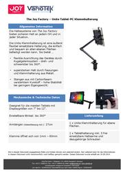 The Joy Factory JOY UNITE KLEMMHALTERUNG IPAD 006-3000174 Data Sheet