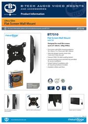 B-Tech LCD TV flat wall mount bracket BT7510/B Data Sheet
