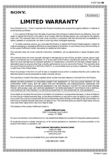 Sony HVL-HL1 Warranty Information