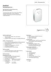 Gigaset Elements Motion detector S30851-H2513-R101 Data Sheet