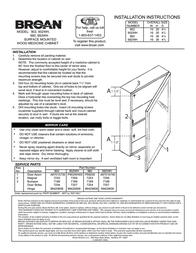 Broan Surface Mounted Wood Medicine Cabinet 902WH Leaflet
