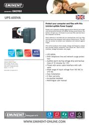 Eminent UPS 600VA EM3980 Data Sheet