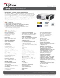 Optoma HD65 Data Sheet