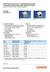Osram Components Phototransistors N/A SFH 325 FA Data Sheet