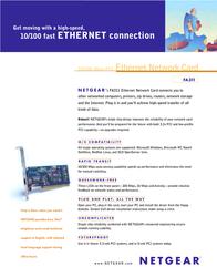 Netgear 10/100 Low Profile PCI Network Interface Card FA331-100 Leaflet