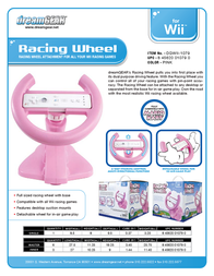 dreamGEAR Racing Wheel In New Gift Box for Wii DGWII-1079 Leaflet