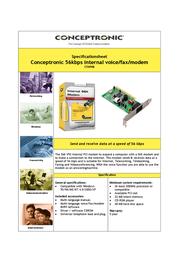 Conceptronic Internal 56Kbps V.92 Voice/Fax/Modem DYN56PMI Leaflet