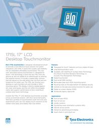 """ELO Digital Office 1715L 17"""" LCD Desktop Touchmonitor E537168 Leaflet"""