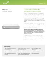 Meraki Z1 Z1-HW-EU Data Sheet