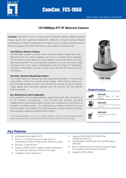 CP Technologies 10/100Mbps P/T IP Network Camera FCS-1060 Leaflet