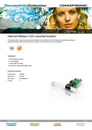 Conceptronic 56 KBPS V.92 SOFTWARE PCI C01-002 Leaflet