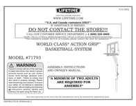 Lifetime World Class Action Grip Basketball System 71793 User Manual