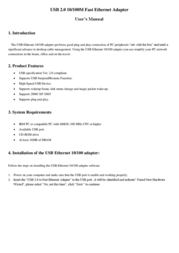 ASSMANN Electronic Digitus Fast Ethernet Adapter to USB 2.0 DN-3016-A User Manual
