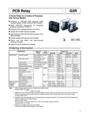 Omron G2R-1-SNI 24 VAC PCB Mount Relay 24Vdc 1 CO, SPDT G2R-1-SNI 24 VDC Data Sheet