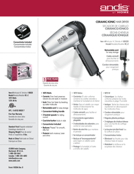 Andis RC-2 80020 Leaflet