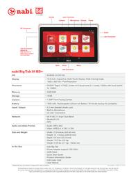 Nabi BTNV20AUS Specification Sheet