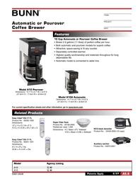 Bunn A-10 Automatic Coffee Brewer A-10 Leaflet
