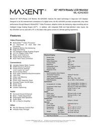 Maxent ml-42hlm20 Product Datasheet