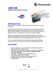 Dynamode USB to IDE interface converter USB-IDE Leaflet