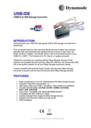 Dynamode USB to IDE interface converter USB-IDE Merkblatt