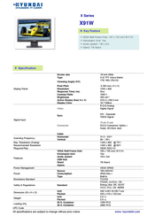 Hyundai X91W Leaflet