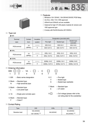 Song Chuan 835-1A-S 12 PCB Mount Relay 12Vdc SPST-NO 835-1A-S 12 Data Sheet