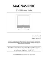 """Magnasonic 15"""" LCD Television / Monitor MLD1525 User Manual"""