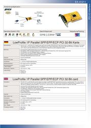EXSYS EX-41211 LowProfile 1P Parallel SPP/EPP/ECP PCI 32-Bit card 15.06.1032 Leaflet