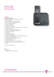 Deutsche Telekom Sinus 205 40259014 Leaflet