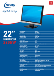 "Novita 2205W 22"" TFT Display N10003 Leaflet"