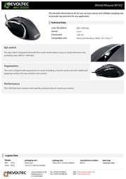 Revoltec Wired Mouse W102 RE132 Leaflet