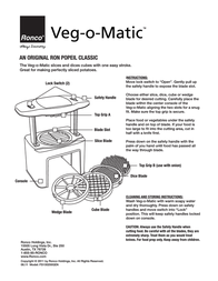 Ronco Veg-o-Matic Instruction Manual