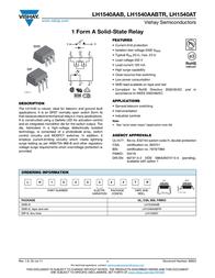Vishay LH1540AT High-voltage Solid State Relay LH1540AT Data Sheet