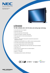 NEC LCD4000 40IN ANA DIG 60000971 Leaflet
