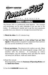 Bounty Hunter PIONEER 505 User Manual