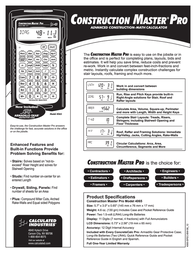 Calculated Industries Construction Master Pro 4065 Leaflet