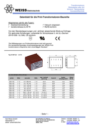 Weiss Elektrotechnik 85/313 - PCB Mount Transformer 1.5VA 15V 100mA 85/313 Data Sheet