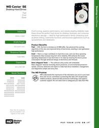 Western Digital Caviar SE 80 GB EIDE WD800JBW Leaflet