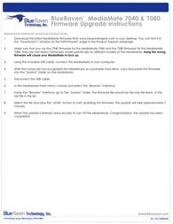 Blue Raven 7040 Supplementary Manual