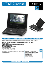 "Denver MT-758, 7"" portable DVD player MT-758 Leaflet"
