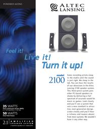 Altec Lansing 2100 terrific PC speaker system 2100E Leaflet
