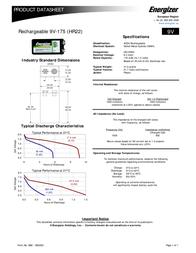 Energizer 626177 Data Sheet
