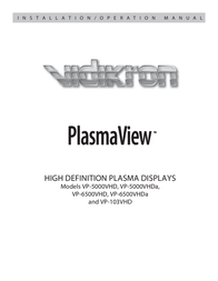 Vidikron PLASMAVIEW VP-103VHD User Manual