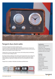Tangent Duo Clock Radio - Red DUOROO Leaflet