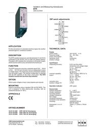 Hsb Industrieelektronik ISOLATION TRANSDUCER 230 VAD BTR-16 16.011.02.000 Leaflet