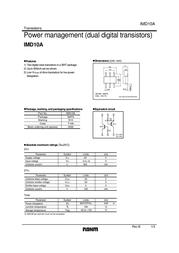 Rohm Semiconductor IMD10AT108 Bipolar Transistor Emitter reverse voltage U(CEO) 50 V IMD10AT108 Data Sheet